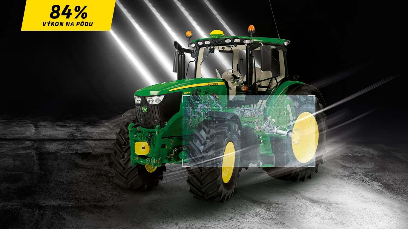 Model 6195R premieňa na trakčnú silu viac ako 84 % menovitého výkonu motora.